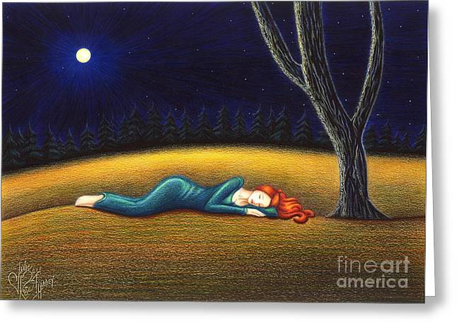 Girl Laying Down Drawings Greeting Cards - Rest for a Weary Heart Greeting Card by Danielle R T Haney