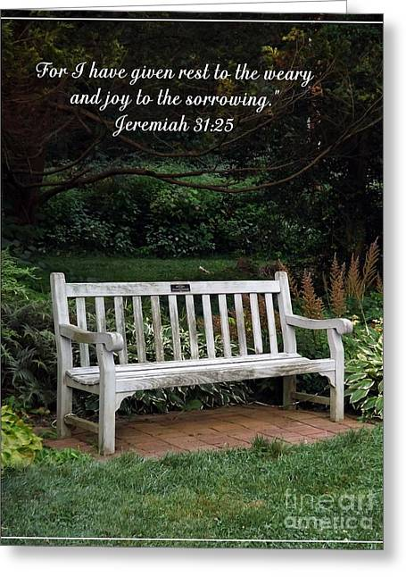 Bible Greeting Cards - Rest for the Weary Greeting Card by Sara  Raber