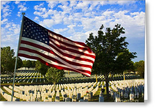 Bravery Greeting Cards - Rest In Peace Fort Snelling National Cemetery Greeting Card by Wayne Moran