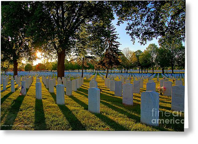 Bravery Greeting Cards - Rest In Peace Memorial Day Fort Snelling National Cemetery Greeting Card by Wayne Moran