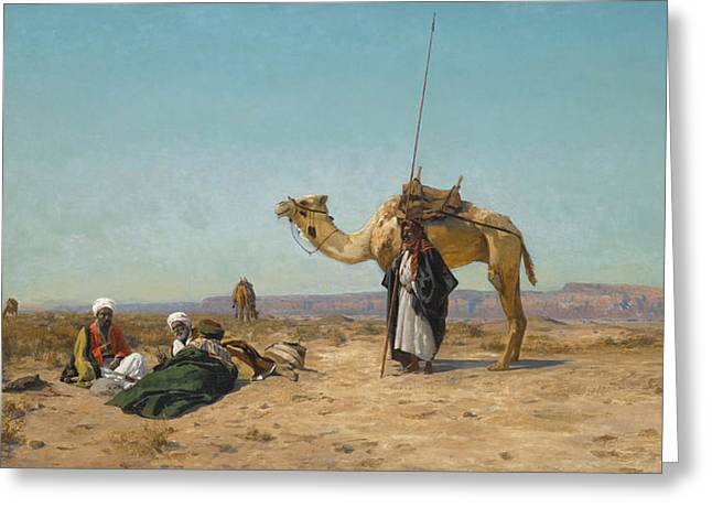 Syrian Greeting Cards - Rest in the Syrian Desert Greeting Card by Eugen Bracht