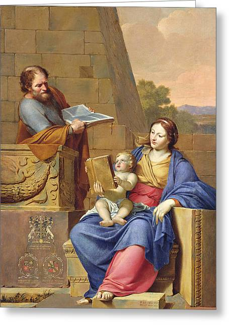 Virgin Photographs Greeting Cards - Rest On The Flight Into Egypt, 1658 Oil On Canvas Greeting Card by Pierre Letellier