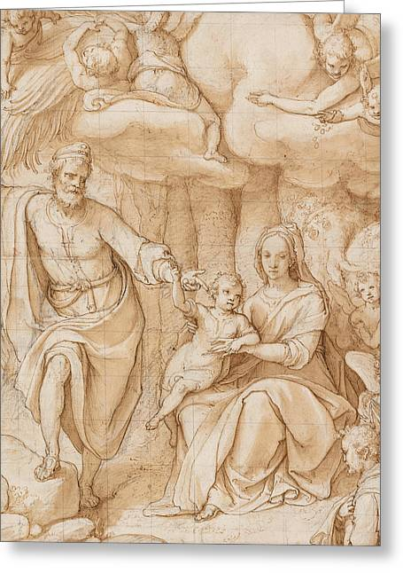 Christ Child Greeting Cards - Rest on the Flight into Egypt Greeting Card by Federico Zuccaro