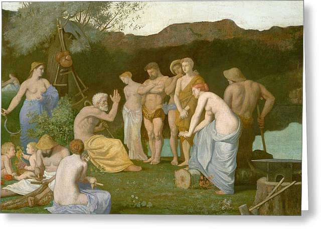 Hammer Paintings Greeting Cards - Rest Greeting Card by Pierre Puvis de Chavannes