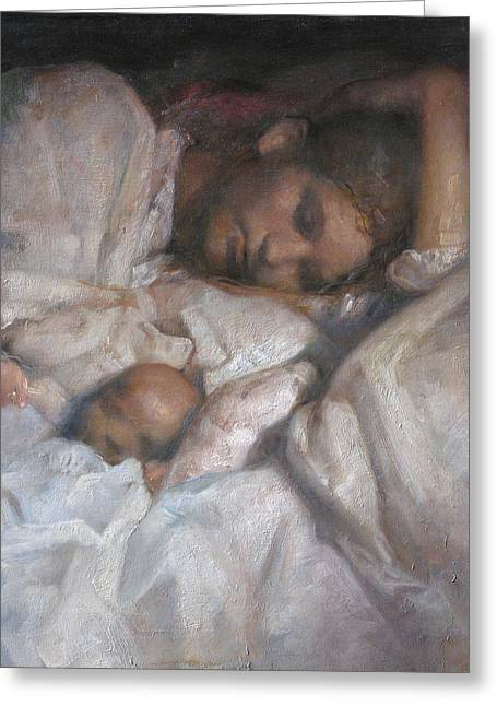 Mom Paintings Greeting Cards - Rest Greeting Card by Odd Nerdrum