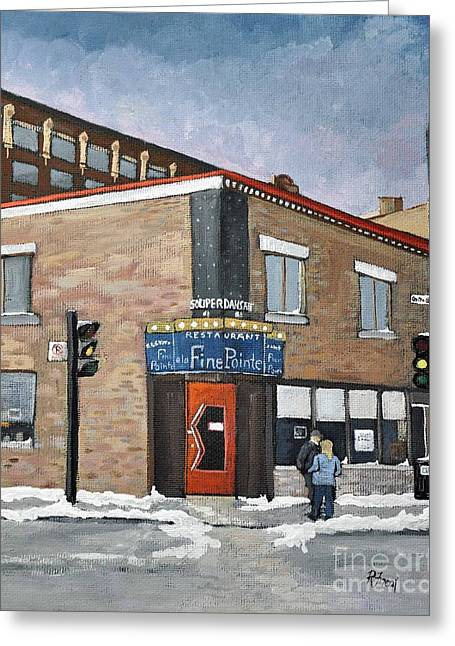 Local Food Places Greeting Cards - Restaurant a la Fine Pointe Greeting Card by Reb Frost