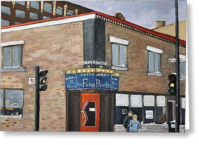 Restaurant a la Fine Pointe Greeting Card by Reb Frost