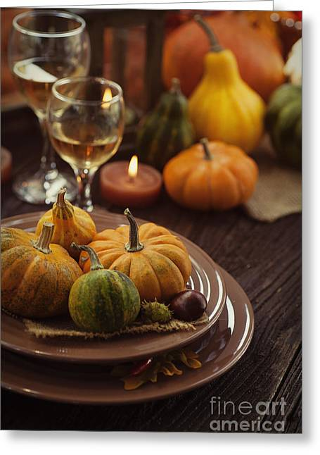 Banquet Greeting Cards - Restaurant autumn place setting Greeting Card by Mythja  Photography