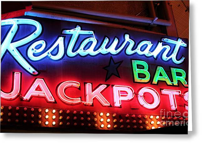 Restaurant Bar Jackpots Greeting Card by John Rizzuto