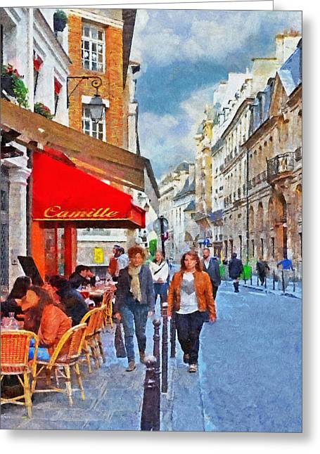 European Restaurant Digital Greeting Cards - Restaurant Camille in the Marais District of Paris Greeting Card by Digital Photographic Arts