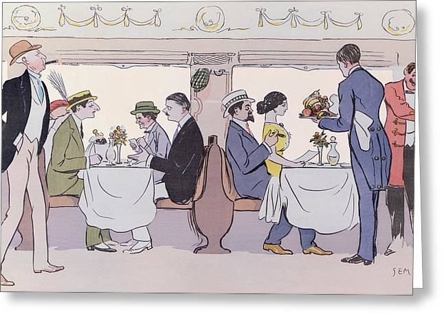 Train Car Greeting Cards - Restaurant Car in the Paris to Nice Train Greeting Card by Sem
