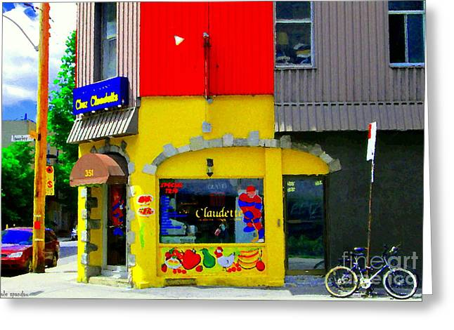 Claudette Greeting Cards - Restaurant Chez Claudette Boudreau Quebec Diner Laurier Plateau Montreal Scenes Carole Spandau  Greeting Card by Carole Spandau