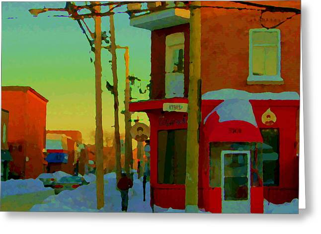 Verdun Restaurants Greeting Cards - Restaurant Chez Lulu B Cafe Rue Ethel Streets Of Verdun Montreal Winter Scenes Carole Spandau Greeting Card by Carole Spandau