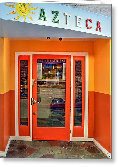 Take-out Greeting Cards - Restaurant Door - No. 1 Greeting Card by Geoffrey Coelho