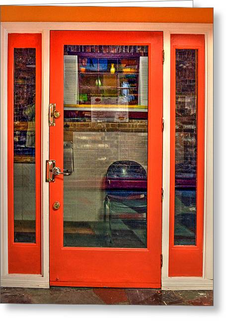 Take-out Greeting Cards - Restaurant Door - No. 2 Greeting Card by Geoffrey Coelho