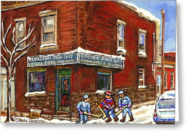 Verdun Restaurants Greeting Cards - Restaurant Epicerie Jean Guy Pointe St. Charles Montreal Art Verdun Winter Scenes Hockey Paintings   Greeting Card by Carole Spandau