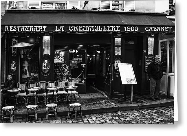 Table And Chairs Greeting Cards - Restaurant in Montmartre Paris Greeting Card by Nomad Art And  Design