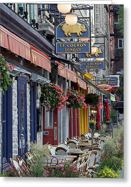 Champlain Greeting Cards - Restaurant Le Cochon Dingue in the Old Port of Quebec City Greeting Card by Juergen Roth