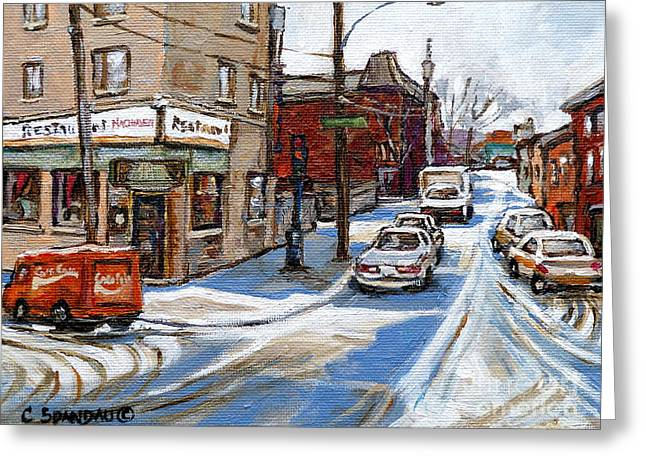 Verdun Restaurants Greeting Cards - Restaurant  Machievelli  Pointe St Charles  Paintings  Montreal Art  Winter City Scenes  Quebec  Greeting Card by Carole Spandau
