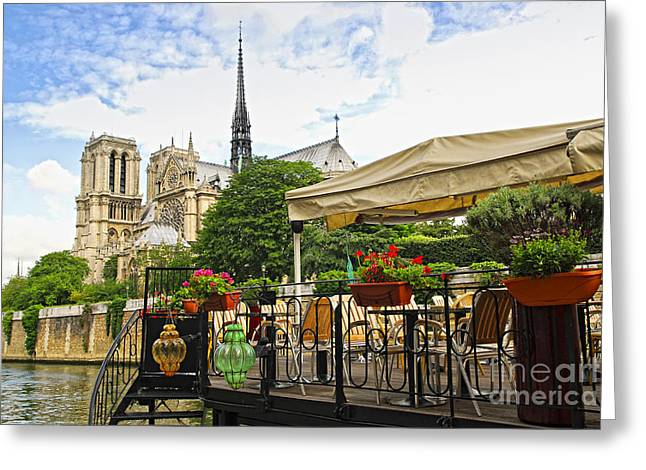 Cathedral Photographs Greeting Cards - Restaurant on Seine Greeting Card by Elena Elisseeva
