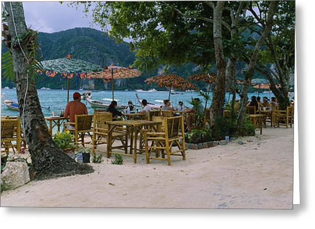 Panoramic Ocean Greeting Cards - Restaurant On The Beach, Ko Phi Phi Greeting Card by Panoramic Images