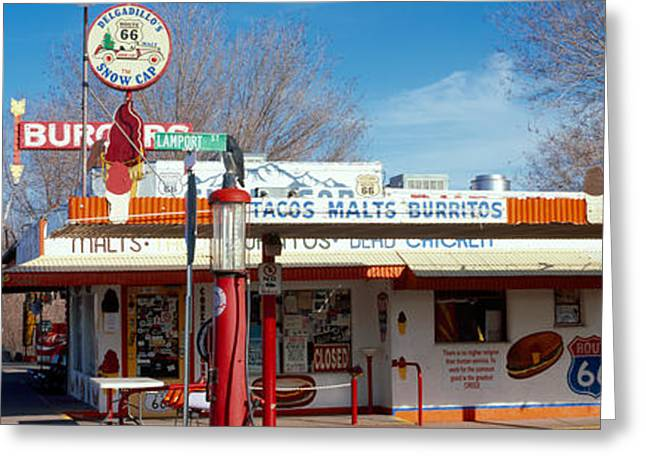 Bare Trees Greeting Cards - Restaurant On The Roadside, Route 66 Greeting Card by Panoramic Images