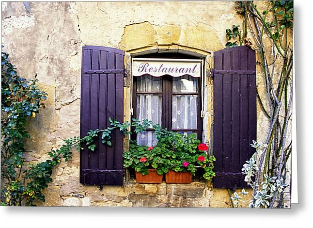 South Of France Greeting Cards - Restaurant window Greeting Card by Nomad Art And  Design