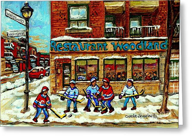 Verdun Restaurants Greeting Cards - Restaurant Woodland Pizza Rue Wellington Verdun Original Hockey Art Montreal Paintings Commissions   Greeting Card by Carole Spandau