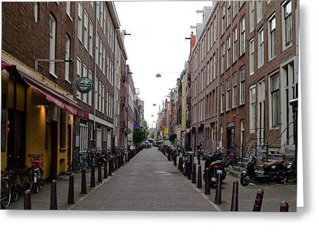 Bollard Greeting Cards - Restaurants In A Street, Amsterdam Greeting Card by Panoramic Images
