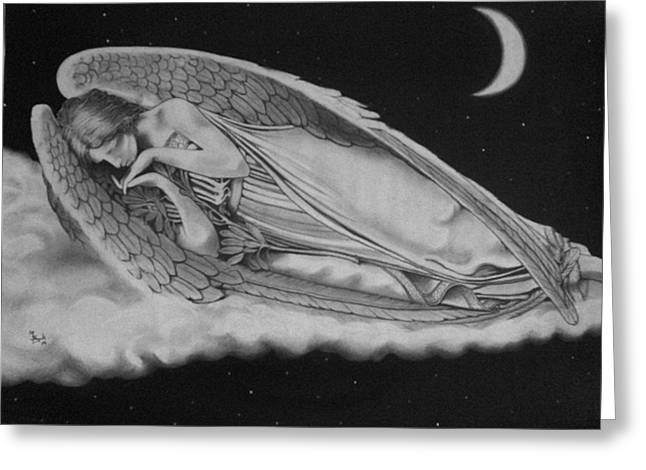 Night Angel Drawings Greeting Cards - Resting Angel Greeting Card by Mark Shynk
