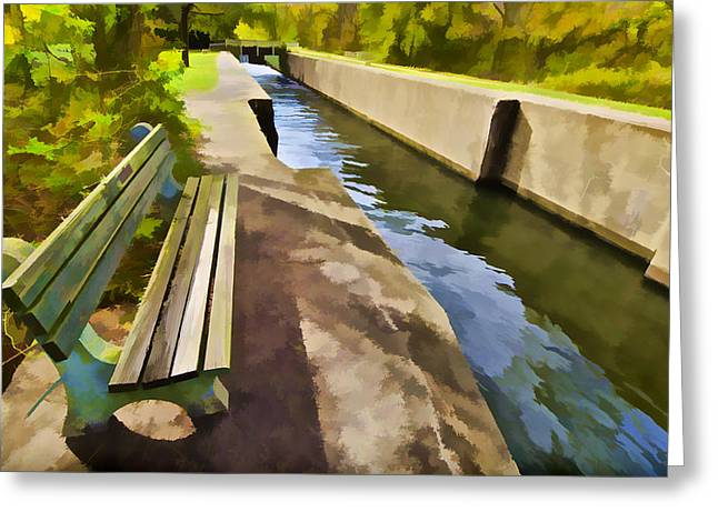 Dï¿¿r Greeting Cards - Resting Bench on the Canal Greeting Card by David Letts