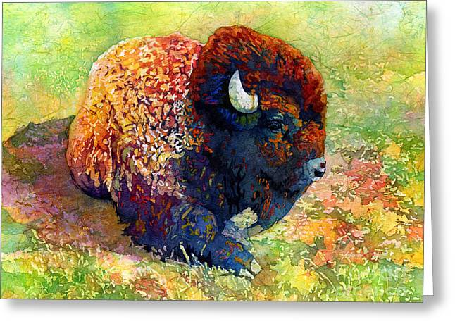Colorful Southwest Greeting Cards - Resting Bison Greeting Card by Hailey E Herrera