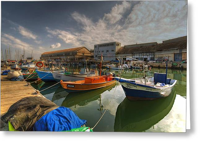 Lookout Greeting Cards - resting boats at the Jaffa port Greeting Card by Ron Shoshani