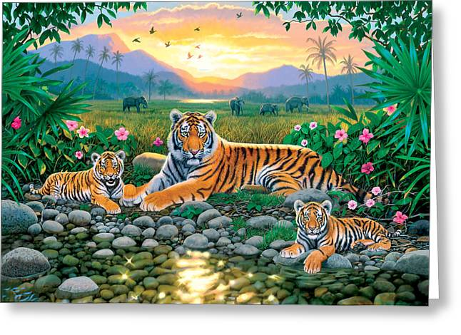 Young Tiger Greeting Cards - Resting By The Pool Greeting Card by Chris Heitt