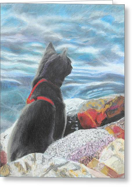 Cute Kitten Pastels Greeting Cards - Resting by the Shore Greeting Card by Jeanne Fischer