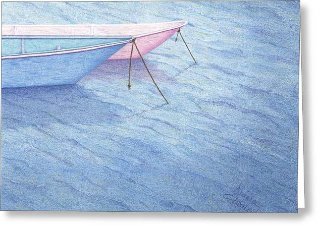 Water Vessels Drawings Greeting Cards - Resting Greeting Card by Diana Hrabosky