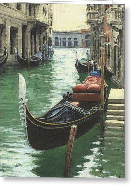 Gondolier Greeting Cards - Resting Gondola Greeting Card by Michael Swanson