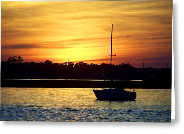 Yellow Sailboats Greeting Cards - Resting In A Mango Sunset Greeting Card by Sandi OReilly