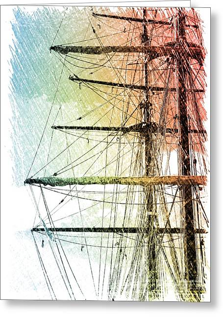 Old Ship Art Greeting Cards - Resting in Harbor Greeting Card by Carol Groenen