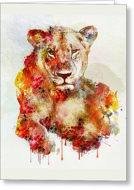 Wildlife Digital Art Greeting Cards - Resting Lioness in watercolor Greeting Card by Marian Voicu
