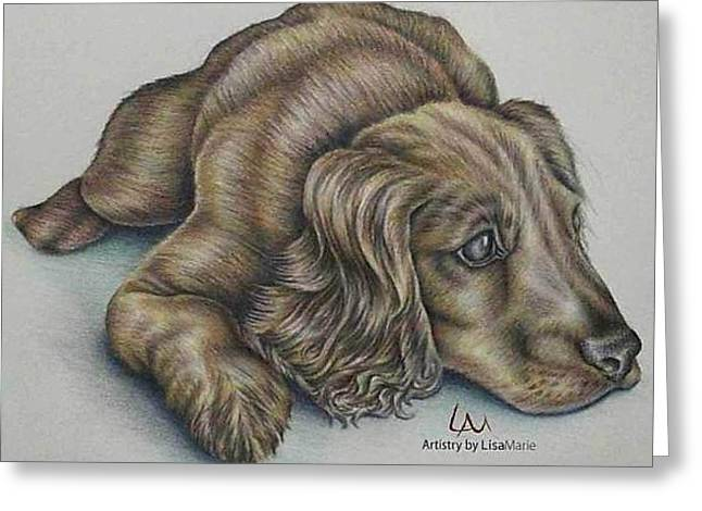 Colored Pencil On Canvas Greeting Cards - Resting Greeting Card by Lisa Marie Szkolnik