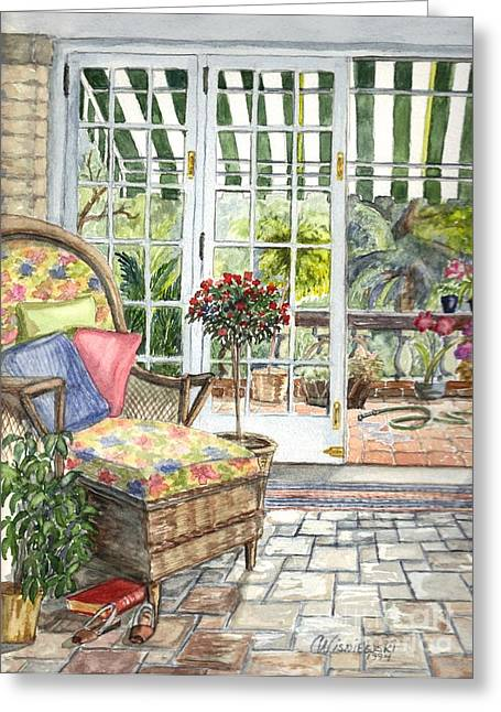 Sunporch Greeting Cards - Resting on the Lanai Part 1 Greeting Card by Carol Wisniewski