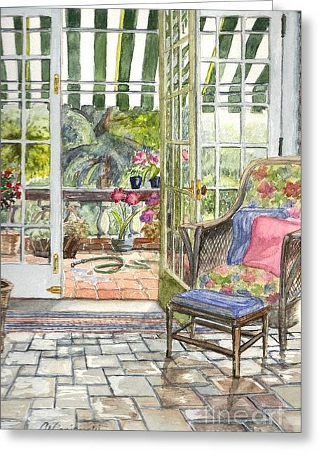 Sunporch Greeting Cards - Resting on the Lanai  Part 2 Greeting Card by Carol Wisniewski