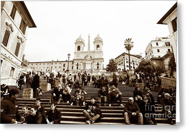 Resting On The Spanish Steps Greeting Card by John Rizzuto