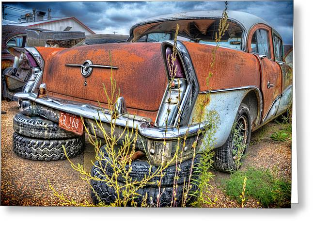 Rusted Cars Greeting Cards - Resting on Tires Greeting Card by Ken Smith