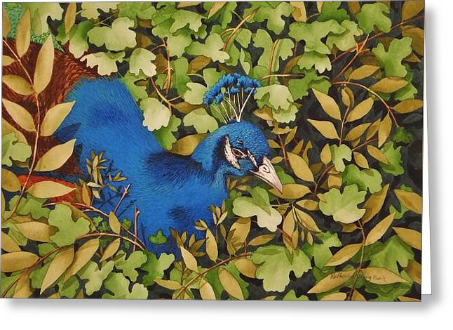 Plumbs Greeting Cards - Resting Peacock Greeting Card by Katherine Young-Beck
