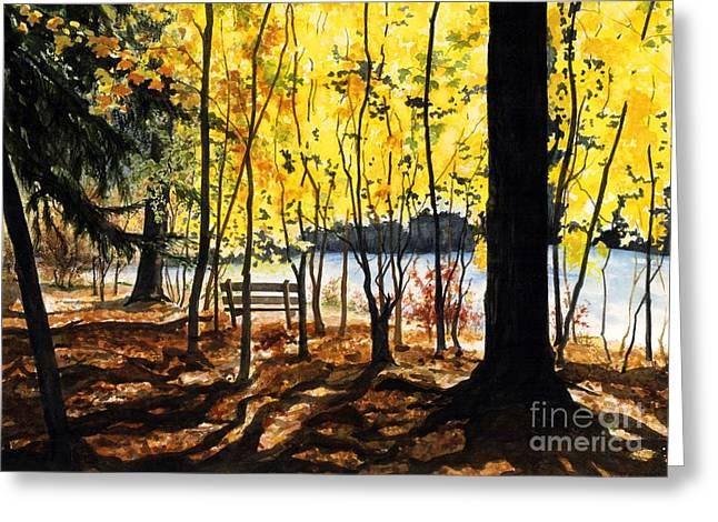 Rivers In The Fall Paintings Greeting Cards - Resting Place Greeting Card by Barbara Jewell