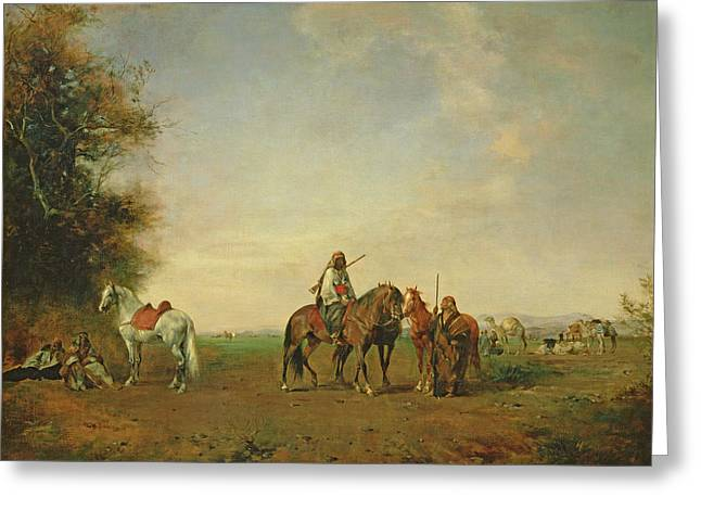 Rifle Photographs Greeting Cards - Resting Place Of The Arab Horsemen On The Plain, 1870 Greeting Card by Eugene Fromentin