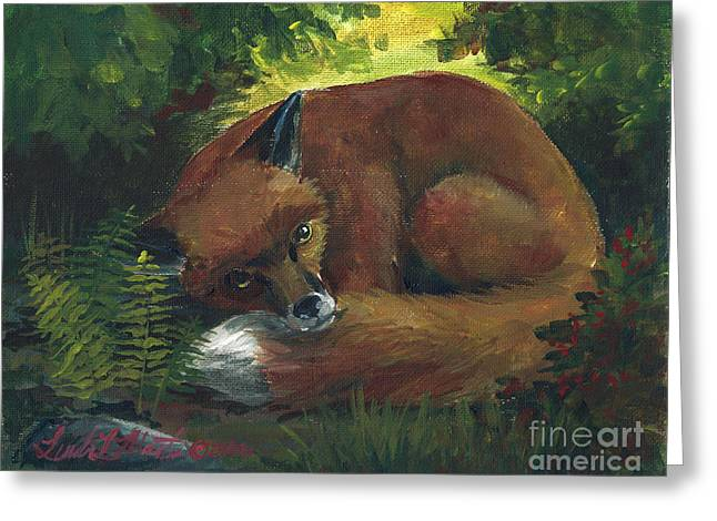 Resting Red Fox Greeting Card by Linda L Martin