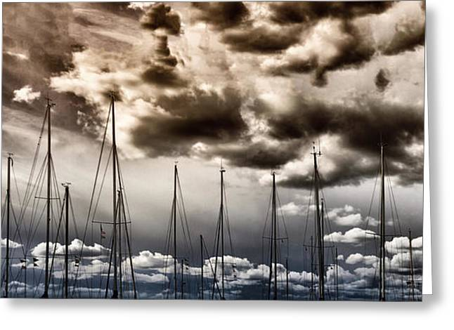 Old Ship Art Greeting Cards - Resting Sailboats Greeting Card by Stylianos Kleanthous